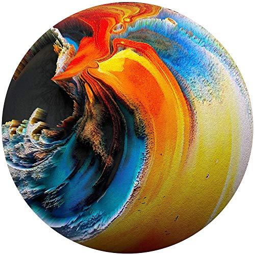 Startonight Cuadro sobre Vidrio - El Planeta Naranja Azul Decoración Redonda -...