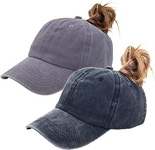 UTOWO Womens Cotton Distressed High Ponytail Baseball Messy Bun Cap Washed Ponycap