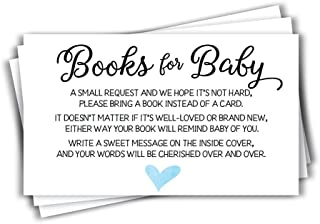 50 Blue Watercolor Heart Baby Shower Book Insert Request Cards (50-Cards)