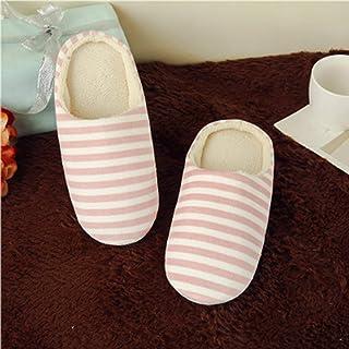 FOY Pantuflas de algodón para interiores a rayas, zapatos antideslizantes para la casa de invierno, fondo suave 38/39, col...