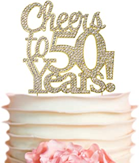 Cheers To 50 Years GOLD Birthday Cake Topper | 50th Party Decoration Ideas | Premium Sparkly Crystal Diamond Gems | Quality Metal Alloy