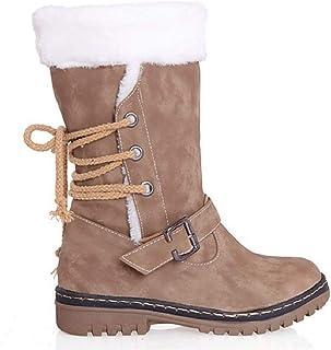 003f4f5296818 NEOKER Femme Bottes de Neige Chaud Bas Lacet Rond Haut Bottes Hiver Boots  Mode Courts Doublure