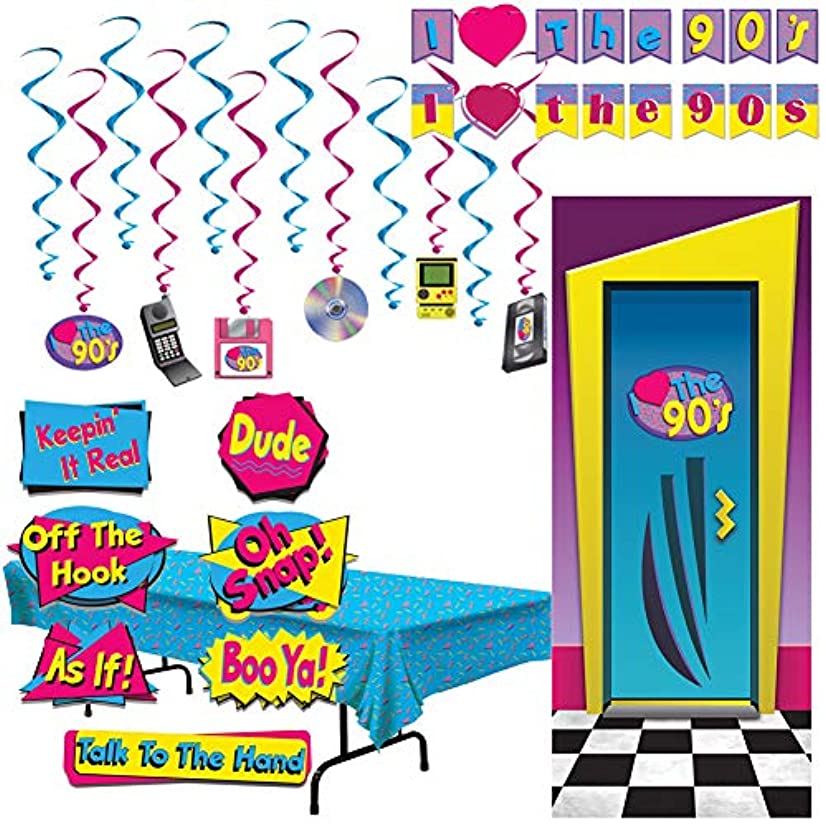 90's Theme Hip Hop Party Decorations Cut Outs Door Cover Tablecloth Whirls Banner Signs