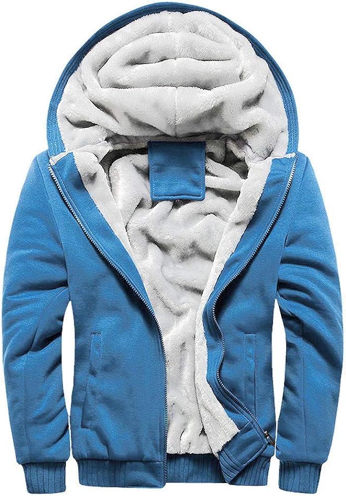 Mens Winter Coat Jacket Winter Zipper Hoodie Sweatshirt Fleece Jacket Winter Workout Outdoor Sport Warm Thick Coats (Blue XL)