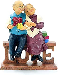 DreamsEden Loving Elderly Couple Figurines, Resin Wedding Anniversary Statues Home Decoration with Gift Card (Love)