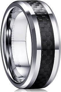 King Will GENTLEMAN 8mm Black/Blue Carbon Fiber Tungsten Carbide Wedding Band Ring For Men Carbon Fiber Inlay Polished Fin...