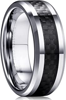 GENTLEMAN 8mm Black Carbon Fiber Tungsten Carbide Wedding Band Ring Polished Finish Comfort Fit