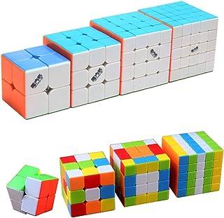 風の翼 スピードパズルマジックキューブセット キューブパック 競技用(2x2x2,3x3x3、4x4x4,5x5x5のパック) (多色) 6歳以上に適しています
