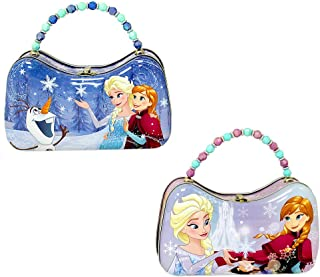 Set of 2 Disney's Frozen Elsa Anna Olaf Tin Metal Scoop Purses with Beaded Handles