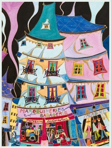 Bild mit Rahmen Martine Wentzeis - La maroquinerie - Digitaldruck - Alimunium silber matt, 60 x 79.8cm - Premiumqualität - Stadt, Gebäude, Häuser, Geschäfte, Lederwarengeschäft, Frankreich, fröhlich, .. - MADE IN GERMANY - ART-GALERIE-SHOPde