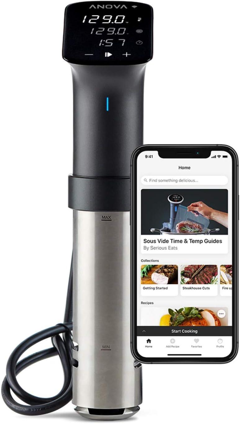 Anova Culinary Sous Vide Precision Cooker Pro, 1200 Watts, Black and Silver