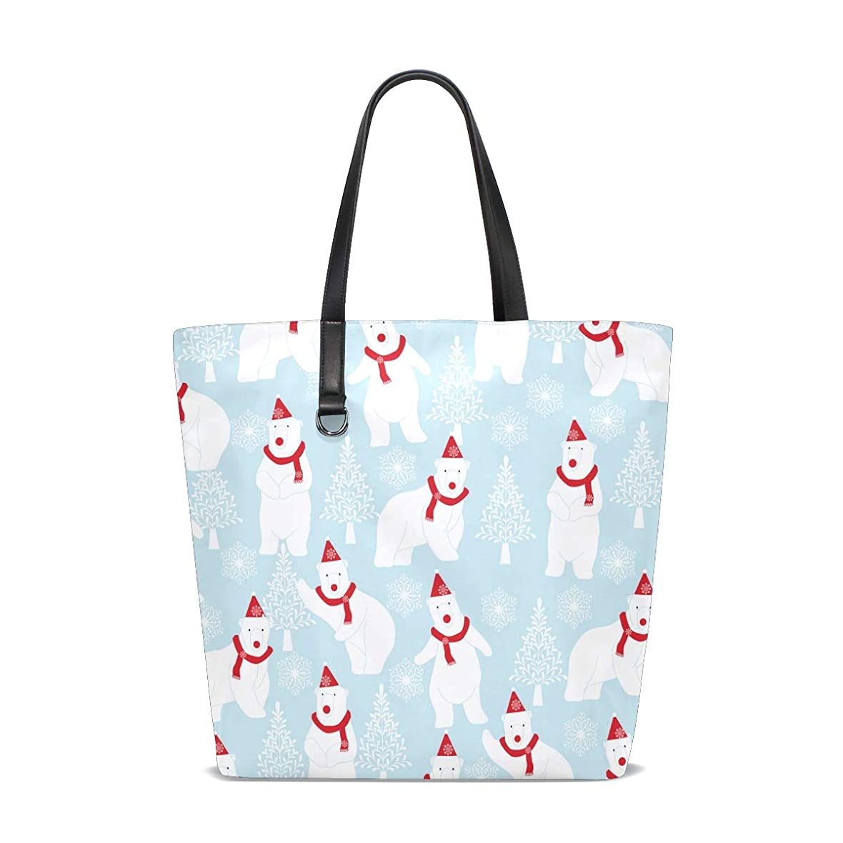 前方へ未来微視的トートバッグ かばん ポリエステル+レザー 白色 シロクマ柄 クリスマス 両面使える 大容量 通勤通学 メンズ レディース