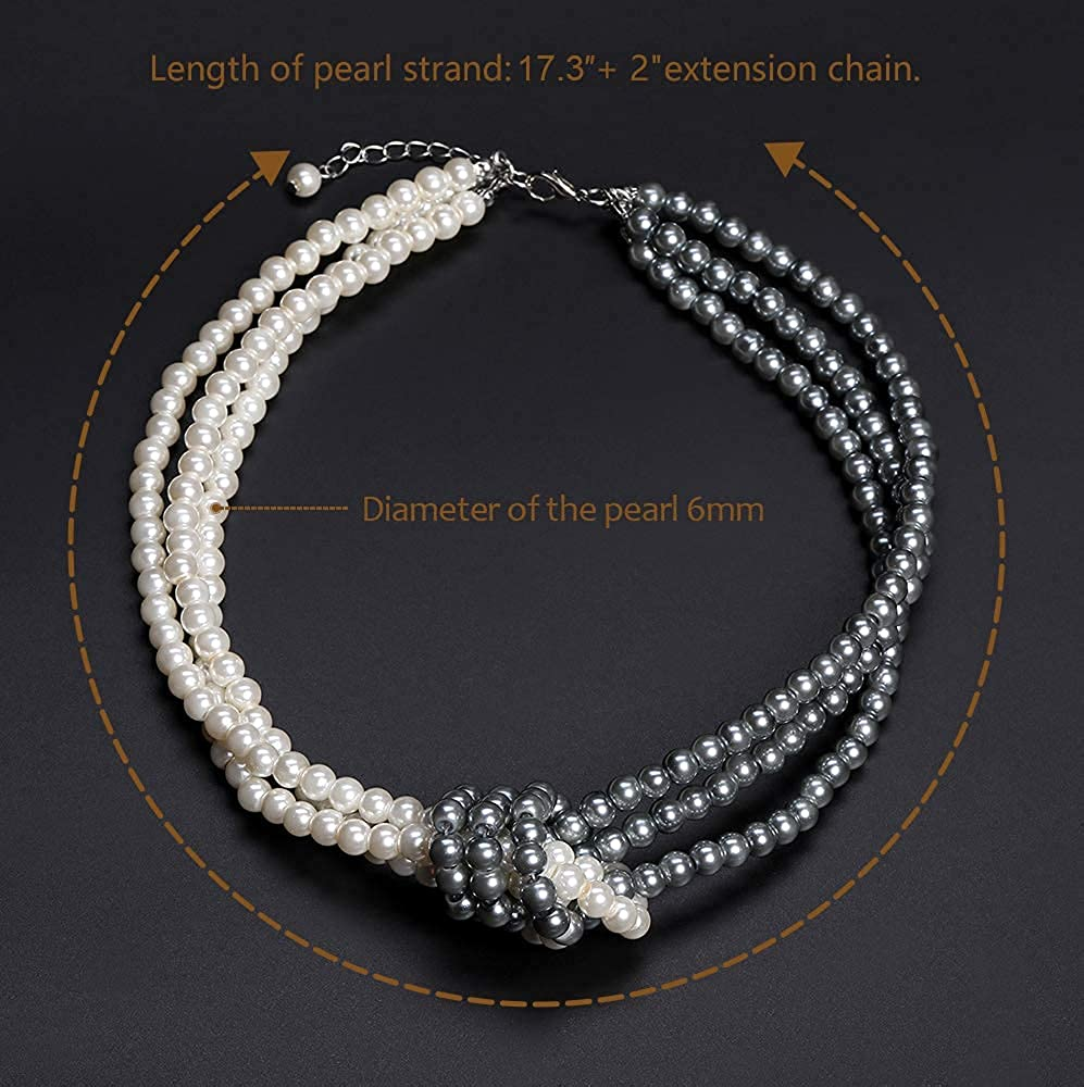 Coucoland 1920s Imitation Pearls Necklace 20s Gatsby Knot Pearl Necklace 1920s Flapper Pearls Accessories Two-Tone Stitching Style