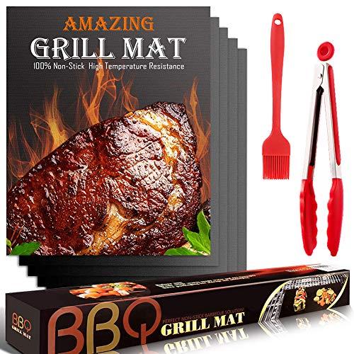 YOFIG BBQ Grillmatte, Grillmatten für Gasgrill, 5er Set BBQ Antihaft Grill-und Backmatte,Teflon Antihaft Wiederverwendbar - Perfekt für Fleisch, Fisch und Gemüse 40 * 33 cm