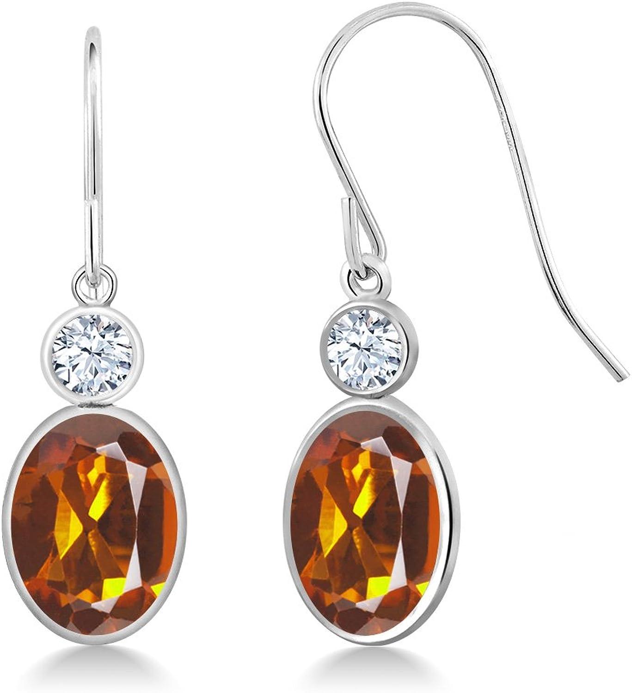 2.42 Ct Oval orange Red Madeira Citrine 14K White gold Earrings