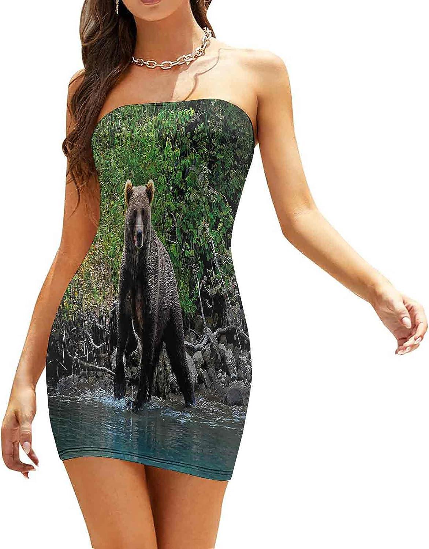 SUZM Women's Tube Top Beach Mini Dress Vivid Watercolors Dresses