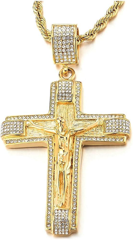 Coolsteelandbeyond collana unisex con pendente gesù cristo crocifisso in acciaio inossidab croce con zirconi, MP-905-EU