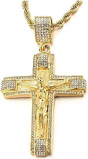 COOLSTEELANDBEYOND Grande Oro Collana con Pendente Gesù Cristo Crocifisso Croce con Zirconi, Uomo Donna Ciondolo Croce, Ac...