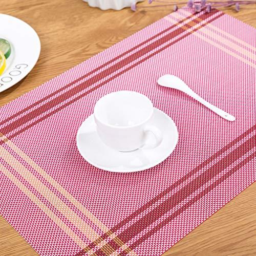 Baisheng Streifen Platzsets Crossweave Woven Vinyl Abwaschbar Hitzebeständig Tischsets Rutschfest Schmutzabweisend Platzdeckchen für Küchentisch(1pc Platzset-Rot)