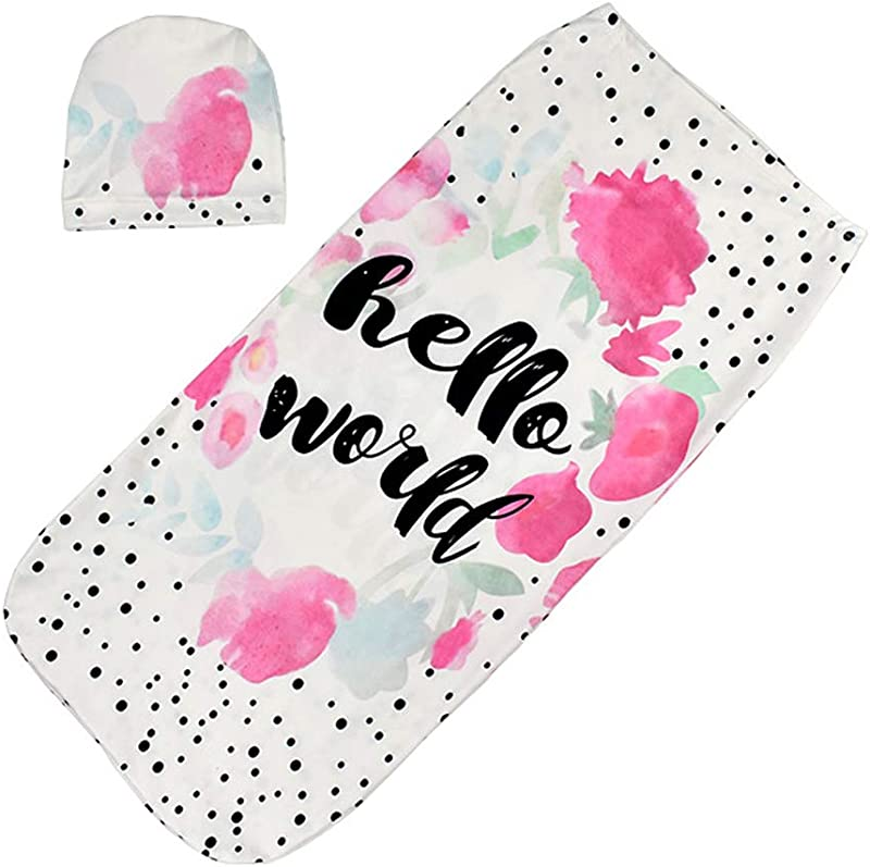 Newborn Baby Swaddle Cocoon Sack Cocoon Swaddle Sleeping Bag Baby Photo Props Girls Hello World Swaddle Beanie