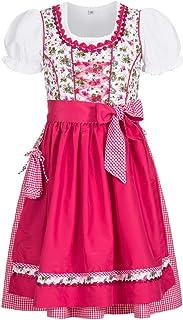 Nübler Nübler Kinderdirndl 3-TLG. Natalie Weiß-Pink, 80-122, Blumen-Muster, Rüschen, Miederherzchen, Glitzersteinchen