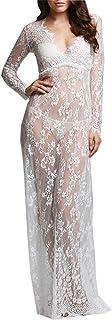 U-Story Women's Deep V Neck Lace See Through Maternity Dress Long Sleeve Beach Dresses
