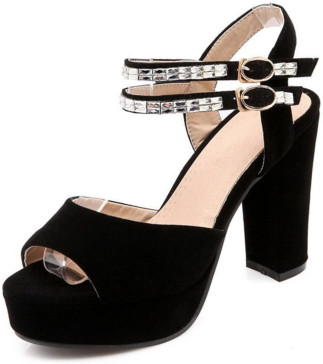 WeiPoot Women's Frosted Open-Toe High-Heels Buckle Solid Sandals