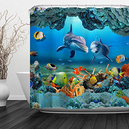 """Baccessor Dolphins Shower Curtain for Kids Blue Ocean Tropical Fish Coral Underwater Sea Animal Theme Waterproof Polyester Fabric,Hooks Inclued, 72"""" W x 72"""" H (180CM x 180CM) - Two Dolphins"""