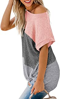 Womens Summer Off The Shoulder Twist Knot Tops Color Block Short Sleeve Loose T-Shirt Blouse