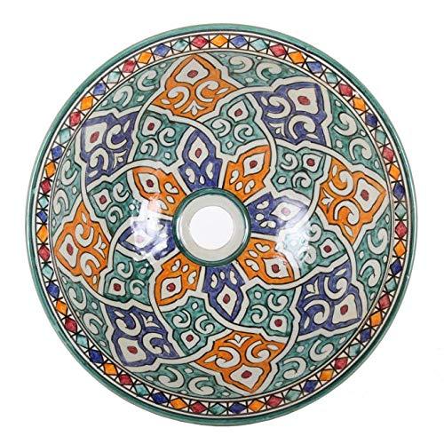 Casa Moro Orientalisches Keramik-Waschbecken Fes63 Ø 35 cm bunt rund | Marokkanisches Aufsatzwaschbecken handbemalt | Handwaschbecken für Küche Badezimmer Gäste-Bad | Einfach schöner Wohnen | WB35263