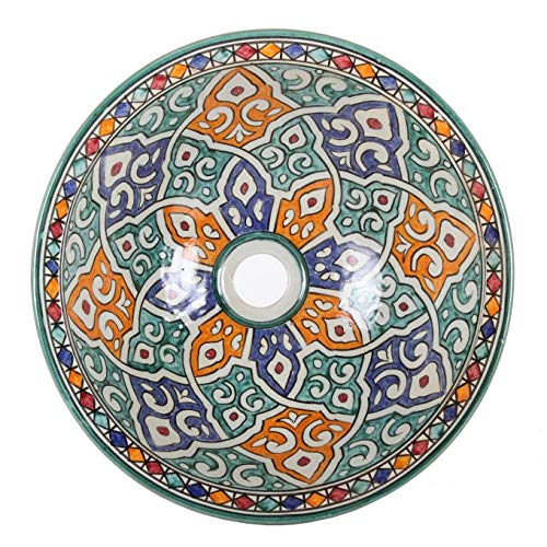 Casa Moro Orientalisches Keramik-Waschbecken Fes63 Ø 35 cm bunt rund | Marokkanisches Aufsatzwaschbecken handbemalt | Handwaschbecken für Küche Badezimmer Gäste-Bad | Einfach schöner Wohnen