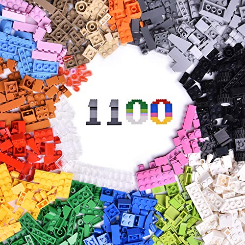 FUN LITTLE TOYS 1100 PCs Building Bricks in 17 Popular Colors and 147 Mixed Shapes, Classic Creative Building Blocks Compatible with All Major Brands, Bulk Basic Bricks Toys, Birthday Gift for Kids