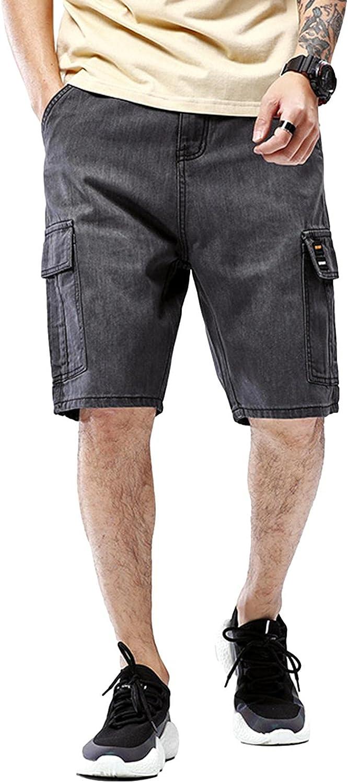 Idopy Men`s Street Hip Hop Denim Cargo Shorts Jeans with Multi Pockets