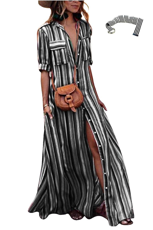 Yanekop Womens Rainbow Loose Button Down Stripes Half Sleeve Maxi Dress with Pockets