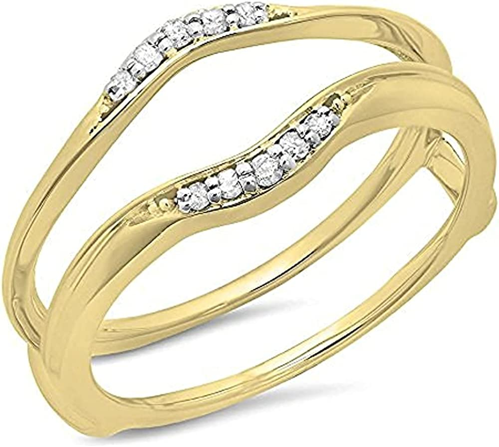 Dazzlingjewelrycollection Round Cut Dia 14K Yellow Gold Plated Simulated Diamonds Wedding Band Ring Guard Enhancer for Womens