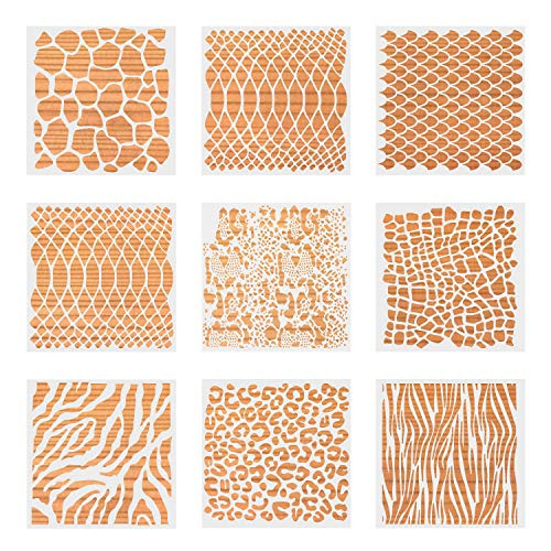 Pengxiaomei 9 pcs 7inch Baking Stencils for Cakies,Animal Print Stencils for Cake Painting, Reuseble Skin Print Template for Painting Wall, Fish Scales Paint Stencils for Cake,Rock,Floor,Canvas