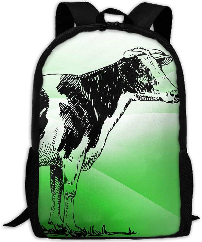 Adult Backpack Cattle Green Grass College Daypack Oxford Bag Unisex Business Travel Sports Bag Adjustable Strap