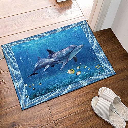 Decorazione animale pesci tropicali delfini sottomarini Tappeto bagno antiscivolo tappeto porta ingresso esterno porta interna coperta tappetino da bagno per bambini mat 60X40CM accessori da bagno