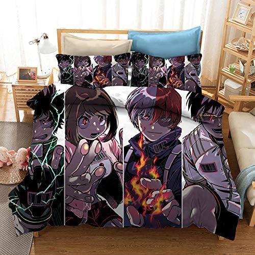 Juego De Ropa De Cama con Funda De Edredón Anime My Hero Academy De 3 Piezas Funda De Edredó Y Funda De Almohada Decoración del Dormitorio,135x200cm