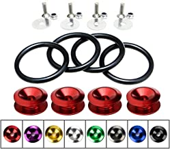 Rolling Gears JDM Bumper Quick Release Front Rear Bumper Fasteners, 4 Piece (Red), 4 x O-Ring