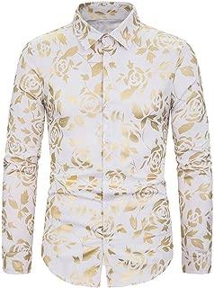 LUCKYMEN Men's Golden Rose Luxury Design Slim Fit Long Sleeve Button Down Shirts Flowered Printed Stylish Dress Shirt