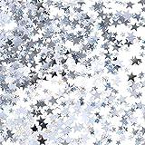 Confeti de Estrella Plateado Confeti de Mesa de Estrella Brillante para Decoración de Fiesta de Boda Cumpleaños, 60 Gramos/ 2,1 Onzas