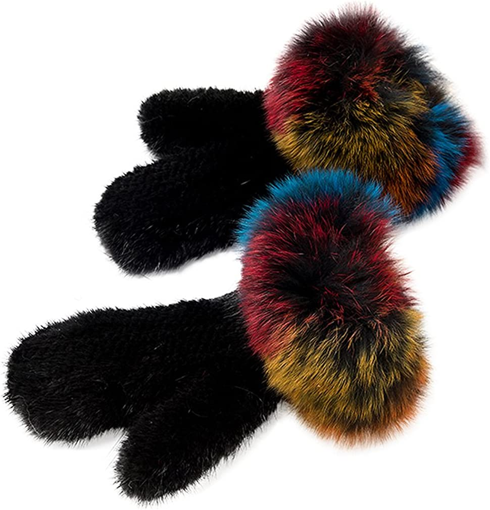 Fur Story Women's Knitted Mink Fur Gloves Winter Warm Fur Mittens