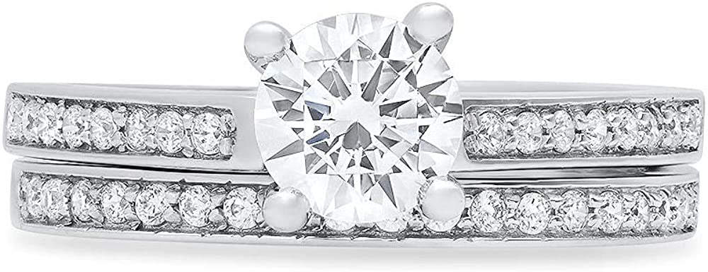Clara Pucci 1.20ct Round Cut Pave Solitaire Accent Genuine Flawless White Lab Created Sapphire Engagement Promise Statement Anniversary Bridal Wedding Ring Band set Solid 18K White Gold