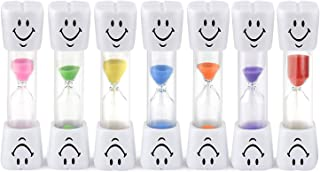 Qpower Smiley Tooth Brushing Sand Timer Set for Kids and Teens Assorted Colors (2min, 7pcs)