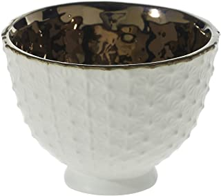 White Ceramic Compote Vase - 4.25 x 3.25 Inches - Pierre Compote Textured Pot w/ Shiny Brass Interior - Modern Planter Decor for Home or Office
