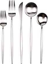 YALONG 20-Piece Silverware Flatware Set, Stainless Steel Dining Cutlery Set Service for 4, Matte Silver Modern Flatware Set Include Knife/Fork/Spoon Dishwasher Safe Father's Day