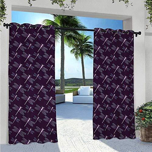 Blackout Curtains Tropical Insect with Artistic Ornate Wings on Dark Purple Backdrop Anti-Uv Windproof Curtains for Pergola/Porch Dark Purple Aqua Lilac W120 x L84 Inch