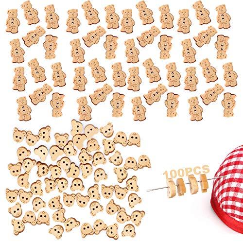 150pcs Botones De Adorno De Dibujos Animados Botones De Madera Con 2 Agujeros Botones De Animales De Costura Botones De Oso Hechos Mano Botones Decorativos Artesania Merceria Botones De Madera Bebe