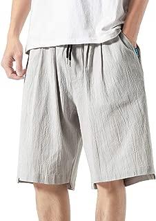 IHGTZS Shorts for Men, Men Summer Casual Harem Pants Jogger Pants Fitness Trousers Linen Loose Pants